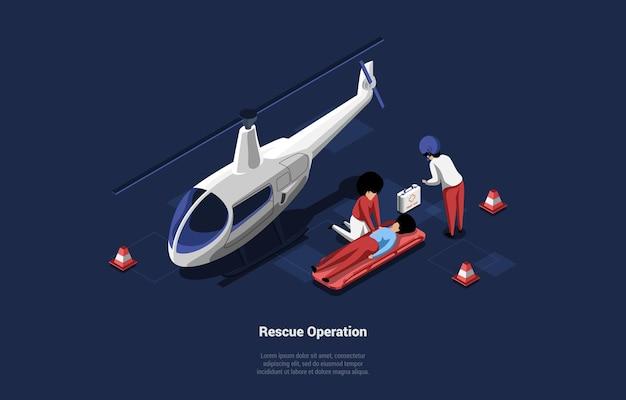 지상에 누워있는 사람의 emegrency 의료 구조 작업. 헬리콥터와 응급 처치 팀이있는 아이소 메트릭 구성