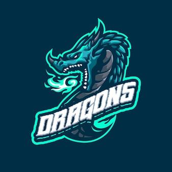 Eスポーツおよびスポーツチームのエメラルドドラゴンマスコットロゴ