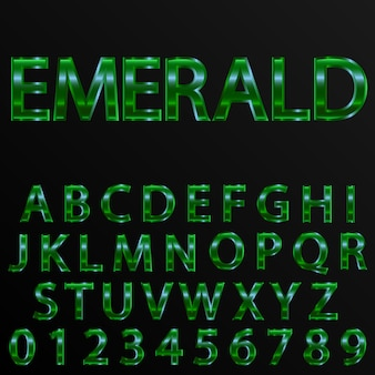 Emerald effect letters and numbers