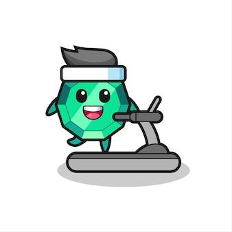 Изумрудный драгоценный камень мультипликационный персонаж, идущий на беговой дорожке, милый стиль дизайна для футболки, стикер, элемент логотипа
