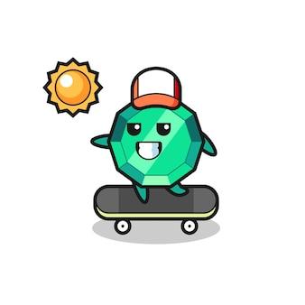 エメラルドジェムストーンのキャラクターイラストがスケートボードに乗る、tシャツ、ステッカー、ロゴ要素のかわいいスタイルのデザイン