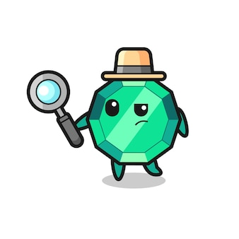 Emerald gemstone detective character is analyzing a case , cute style design for t shirt, sticker, logo element