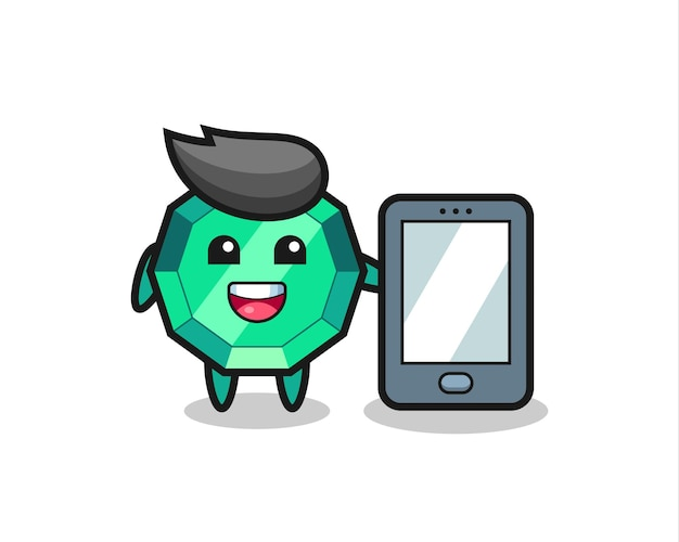 Изумрудный драгоценный камень, иллюстрация, мультфильм, держащий смартфон, милый стильный дизайн для футболки, стикер, элемент логотипа