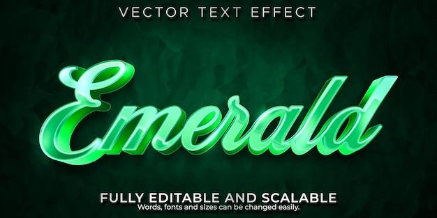 Изумрудный роскошный текстовый эффект, редактируемые украшения и стиль текста с драгоценными камнями