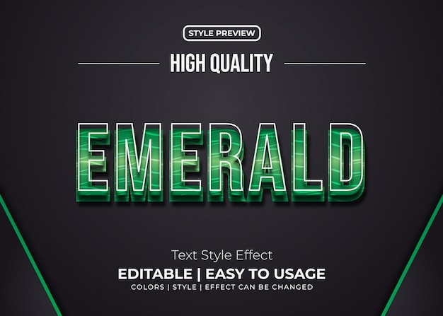 Emerald text style with embossed effect