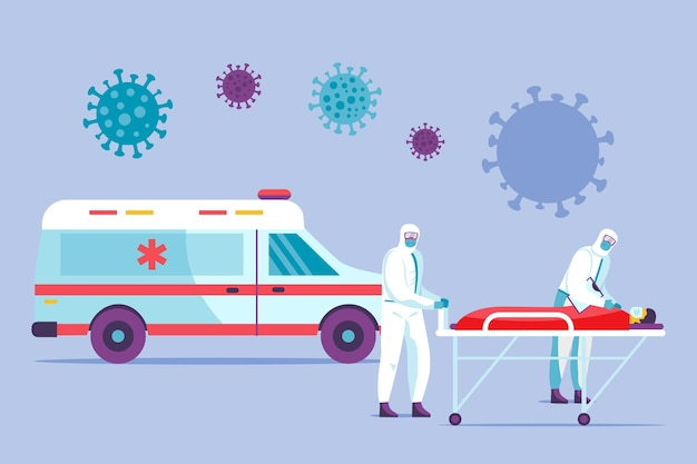 Emergency ambulance illustrated with doctors and patient
