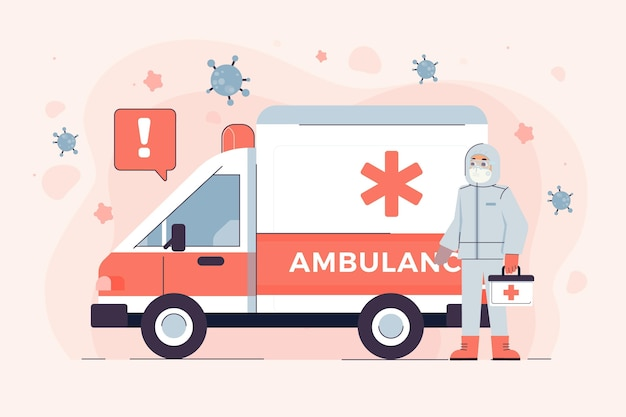 緊急救急車と防護服の人