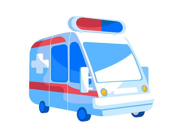 Emergency ambulance van with red and blue signaling siren on roof front view. automobile for injured and diseased patients transportation and first aid assisting medic car. cartoon