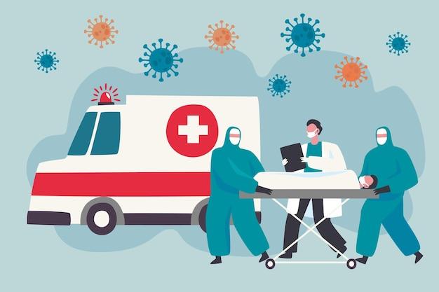 Скорая медицинская помощь с концепцией коронавируса
