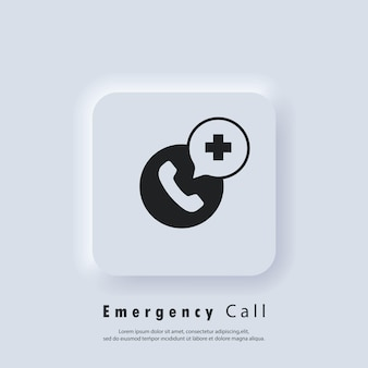 긴급 전화 아이콘입니다. 의료 지원 서비스 전화. 병원전화. 긴급하고 건강한 통화 지원 서비스. 벡터 eps 10입니다. neumorphic ui ux 흰색 사용자 인터페이스 웹 버튼입니다. 뉴모피즘