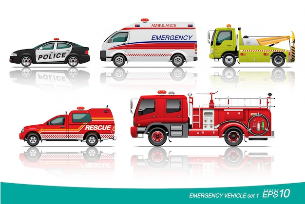 Emergency car set illustration
