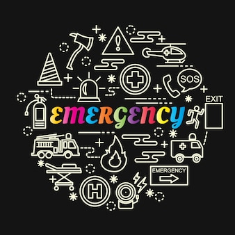 Emergency colorful gradient with line icons set