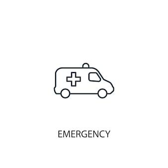 緊急コンセプトラインアイコン。シンプルな要素のイラスト。緊急コンセプト概要シンボルデザイン。 webおよびモバイルui / uxに使用できます