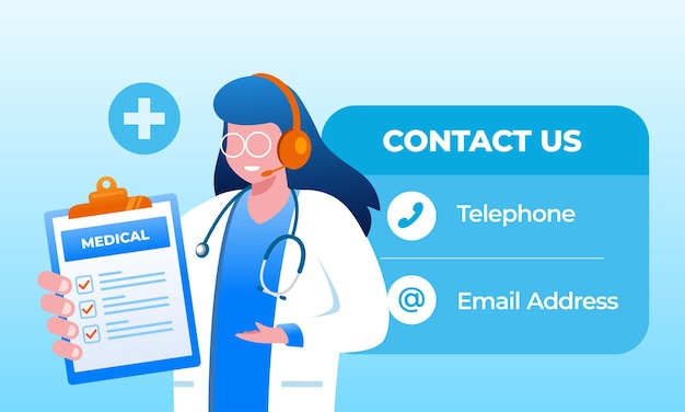 Emergency contact doctor and paramedic flat vector illustration banner landing page