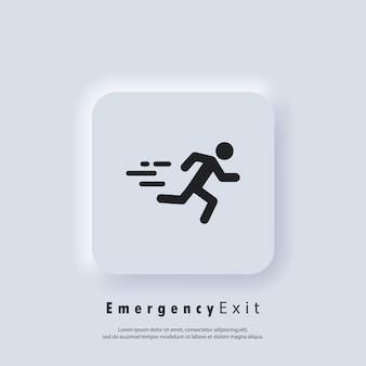 Значок аварийного выхода. пожарная дверь, безопасный путь, побег. пожарный выход. вектор. белая веб-кнопка пользовательского интерфейса neumorphic ui ux. неоморфизм