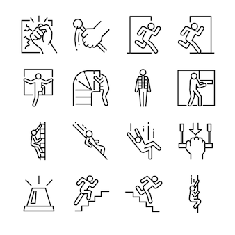 Emergency exit icon set.