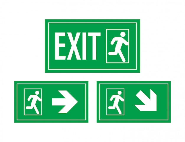 Emergency exit sign. protection symbol. fire .   illustration.