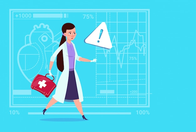 Emergency female doctor run with medicine box first aid medical clinics worker hospital