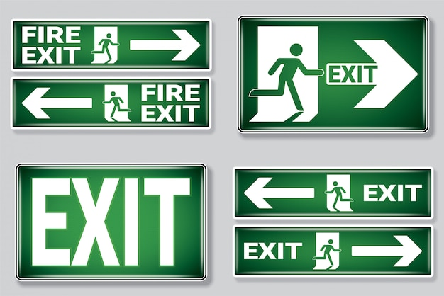 Emergency fire exit symbol set .