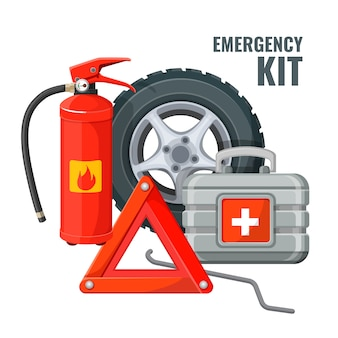 Emergency first aid kit in car and necessary auto service equipment