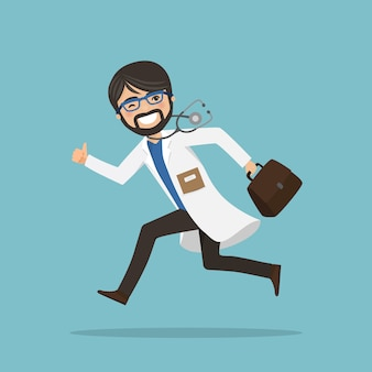 Emergency man doctor running to help with stethoscope showing ok gesture