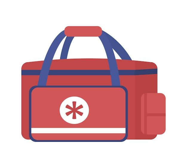Неотложная медицинская сумка для фельдшеров. полуплоский цветной векторный объект. лечение травм. транспортировка лекарств изолировала современную иллюстрацию мультяшного стиля для графического дизайна и анимации