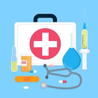 연한 파란색 배경에 고립 된 적십자 플랫 스타일 디자인으로 응급 의료 케이스