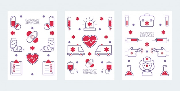 Emergency medical service banner set of icons for hospital, health care center