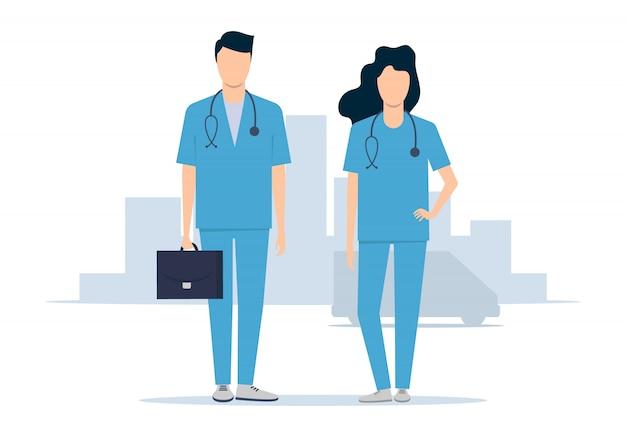 救急医療サービス。医者の男性と女性が救急に駆けつけます。ベクトルイラスト
