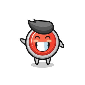 Emergency panic button cartoon character doing wave hand gesture , cute design