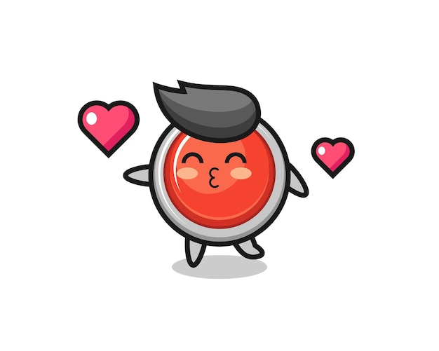 Emergency panic button character cartoon with kissing gesture , cute design