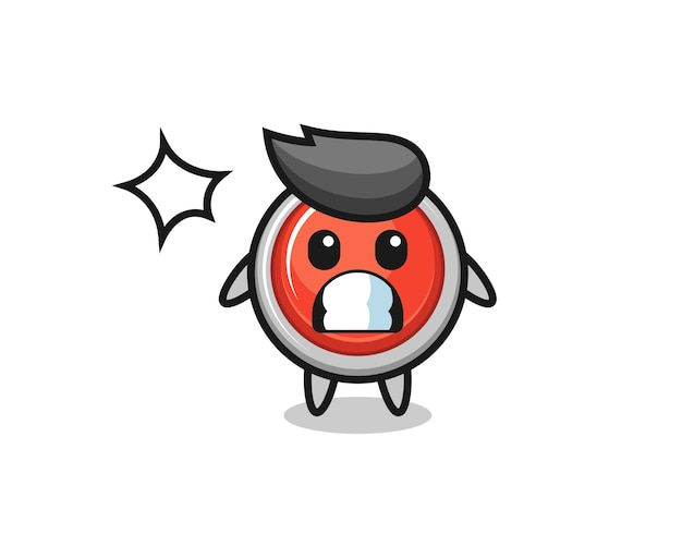 Emergency panic button character cartoon with shocked gesture , cute design