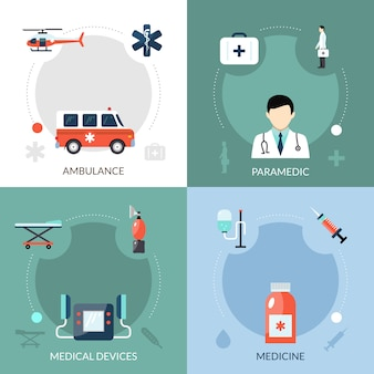 Emergency paramedic icons set