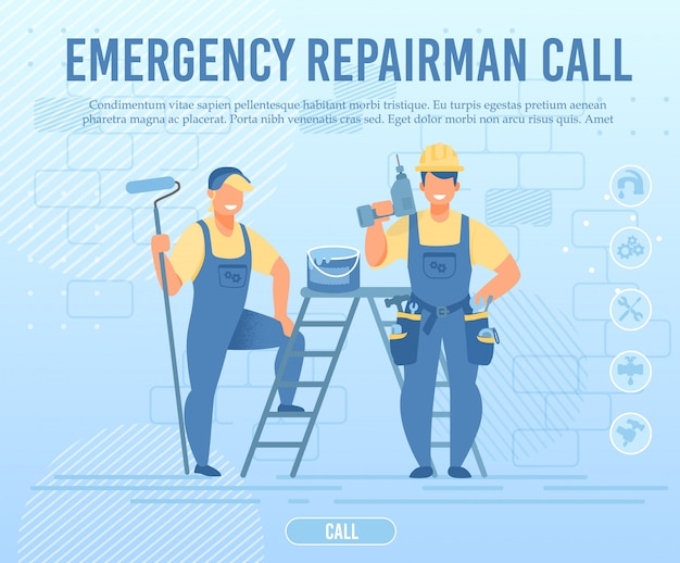 Emergency repairman team call flat webpage