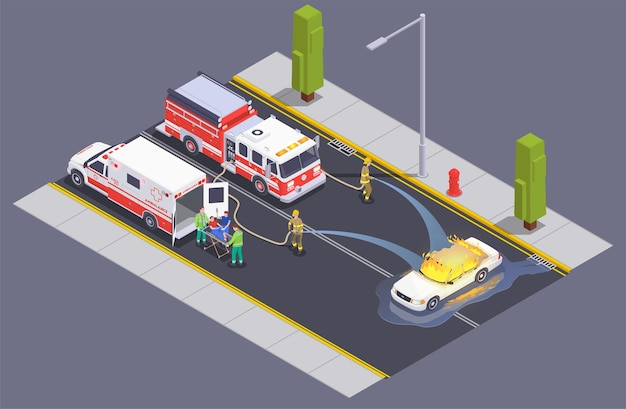 Emergency service isometric composition with fire fighters crew on street putting blaze out of burning car  illustration