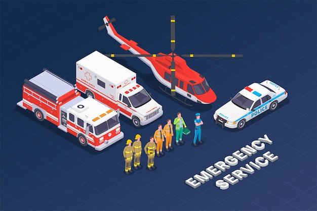 Illustrazione isometrica del servizio di emergenza