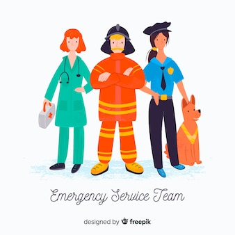 Emergency service team characters