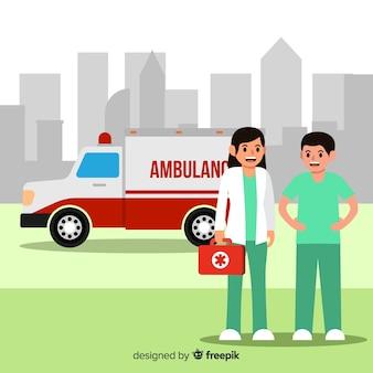 Emergency service team in flat design