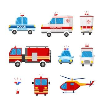 Экстренные службы. векторные иллюстрации шаржа скорой помощи, полицейской машины, пожарной машины.