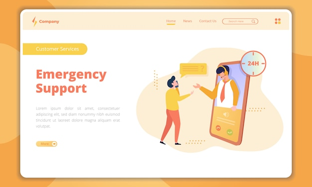 Emergency support landing page
