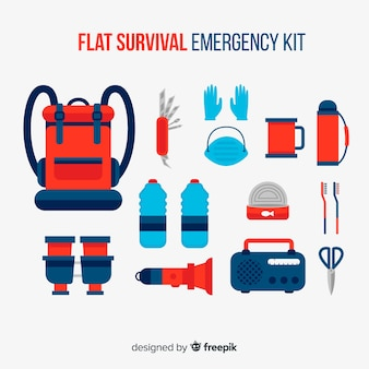 Emergency survival kit in flat design
