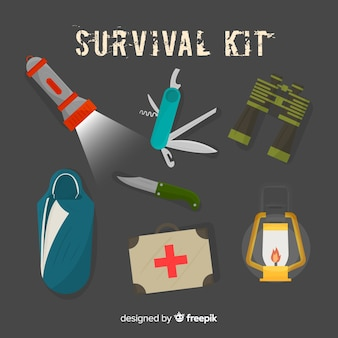 Emergency survival kit in flat design