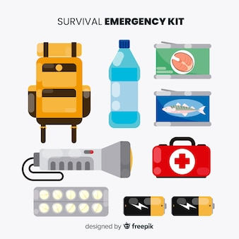 Emergency survival kit in flat style