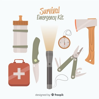Emergency survival kit in flat style
