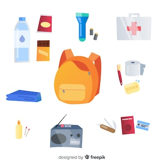 Emergency survival kit with flat design