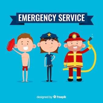 Emergency team in flat design