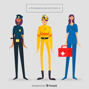 Emergency team in flat style