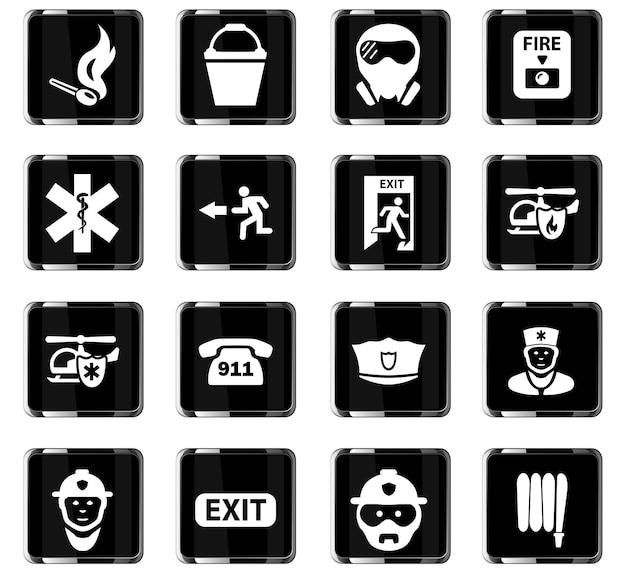 Аварийные векторные иконки для дизайна пользовательского интерфейса