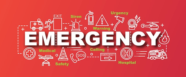 Emergency vector trendy banner