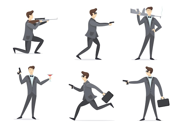 Emissary man adventures set. secret spy agent aiming weapon, using gun, drinking cocktail. flat illustration